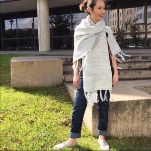 LuLaRoe Mimi white & gray striped knit cape fringe